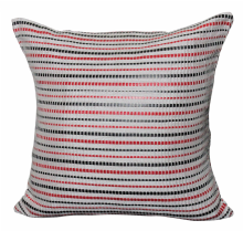 Moroccan Cushion Cover Hand Loomed Cotton with Genuine Leather Stripes 50 cm x 50 cm (B)